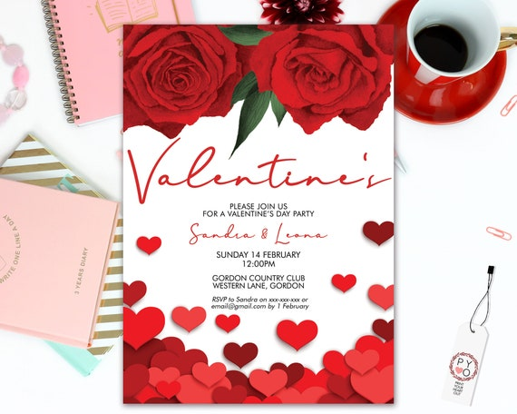 Red Roses Valentine's Day Party Invitation, Red Sweetheart Invitation, Romantic Floral Valentine Invite, Valentine Heart Flyer, Friend Party