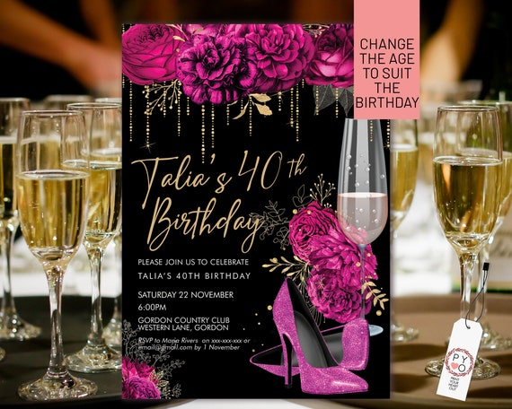 Hot Pink Glitter Stiletto Champagne Birthday Invitation Printable Template, Magenta Shoes Editable Party Dinner Women, Any Age Heels Invite