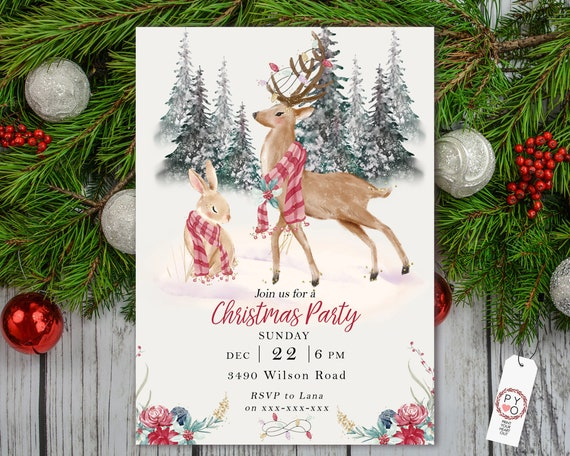 Woodland Animal Christmas Party Invitation, Red Flowers Invite, Friends Family Party Home, Reindeer Christmas Trees Invite, Winter Rabbit