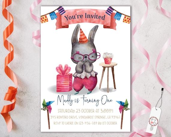 1st Birthday Bunny Rabbit Invitation Printable Template, One Editable Invitation, Cupcake Banner First Birthday, Watercolor Kids Invitation