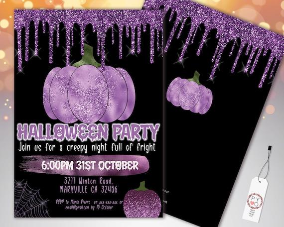 Halloween Purple Pumpkin Glitter Drip Invitation Printable Template, Glitter Pumpkin Party Invite, Printable Spooky Fright Night Invite