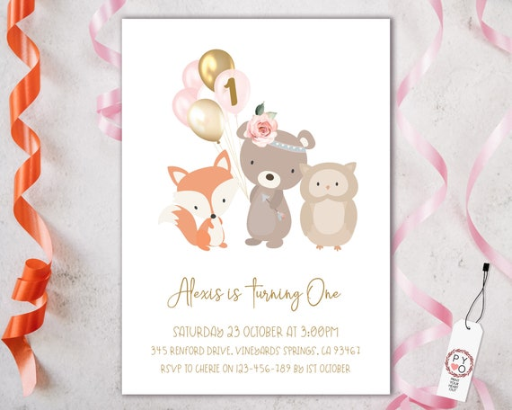 1st Birthday Forest Animals Balloons Invitation Printable Template, One Editable Invitation, Bear Fox Balloons First Birthday, Pastel Floral