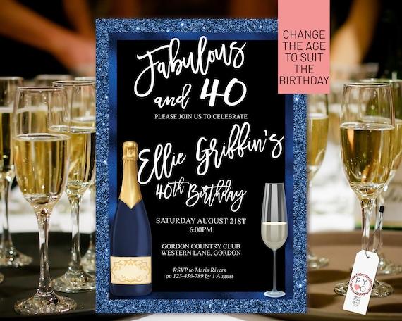 Any Age Navy Blue Gold Birthday Champagne Glass Invitation Printable Template, Dark Glitter Editable Birthday Dinner Women, Printable Card