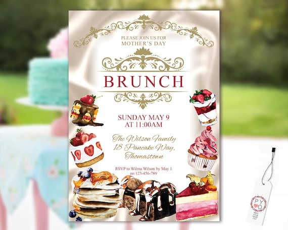 Mother's Day Brunch Cakes Desserts Invitation Printable Template, Ivory Satin Gold Editable Dinner Invite for Mom, Printable High Tea Card