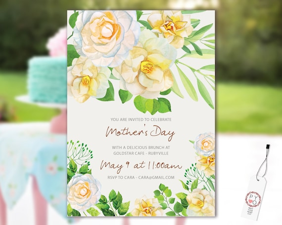 Watercolor Camellia Mother's Day Brunch Invitation Printable Template, Mom Day Editable Lunch Invitation, Printable Cream Floral Invitation