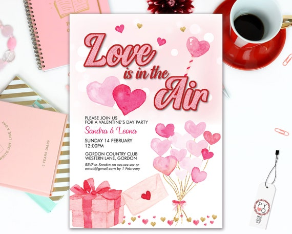Love is in the air Valentine's Day Party Invitation, Pink Hearts, Sweetheart Invitation, Lonely Hearts Invite, Valentine Flyer, Friend Party