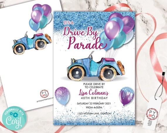 Drive By Blue Purple Birthday Balloons Car Invitation Printable Template, Glitter Editable Birthday Parade Invitation, Printable Aqua Card