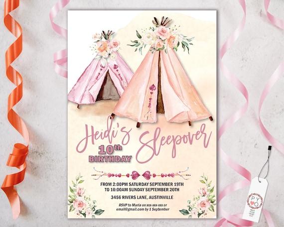 Sleepover Teepee Birthday Floral Invitation, Slumber Party invite, Boho Woodland invite, Editable Tribal Tent pink peach girls party weekend