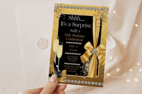 Gold Glitter Foil Birthday Bows Heels Champagne Invitation Printable Template, Editable Surprise Birthday Party Invitation, Printable Card