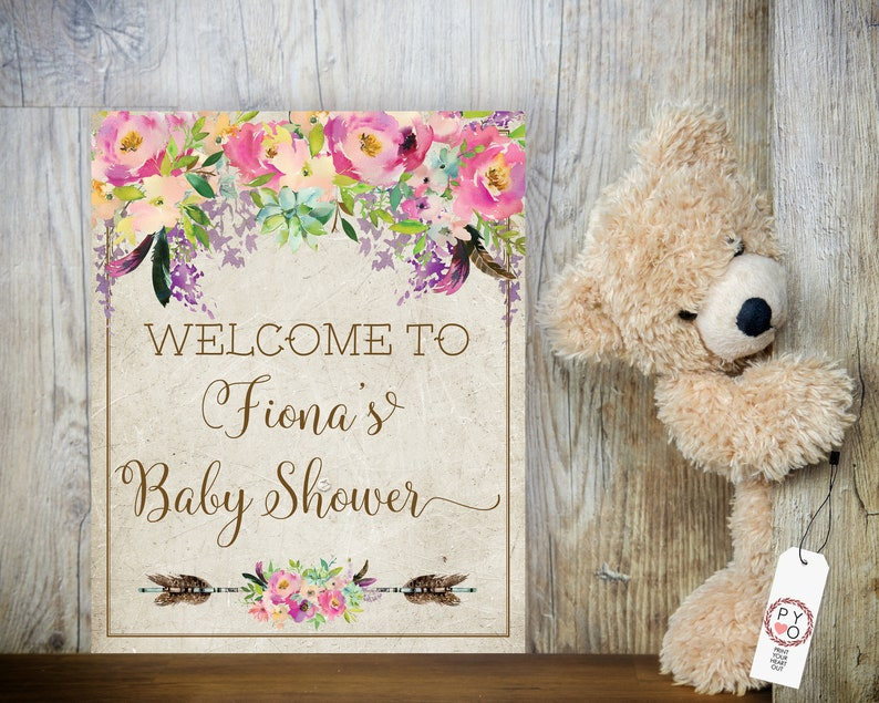 TRY Before You BUY Pink Boho Baby Girl Shower Welcome Sign image 0