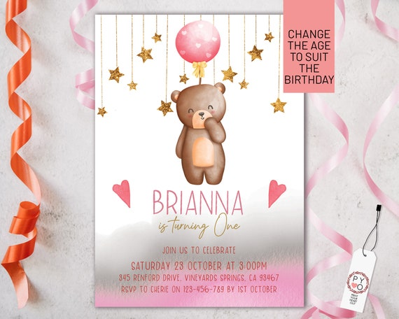 Pink Balloon Bear Girls Birthday Party Invitation Printable Template, One Editable Invite, First Bday, Watercolor Cute Invite Girls, Any Age