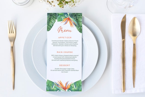 Tropical Bird of Paradise Menu, DIY Editable Menu, Menu Cards, Printable Menu, Tropical Menu Sign , Party Menu, Menu Download, Beach Food