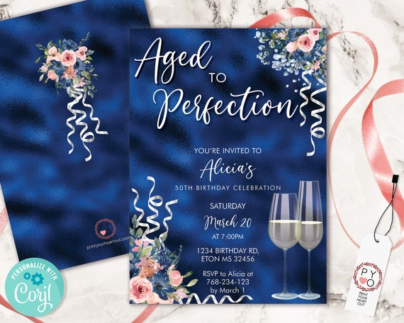 Wine Navy Blue Birthday Invitation Printable Template, Aged to Perfection Editable Birthday Party Women, Printable Champagne Glass Invite