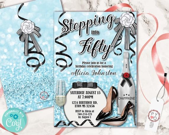 Stepping into Light Blue Birthday Invitation Printable Template, Champagne Glitter Editable Designer Party Invitation for Women, Printable