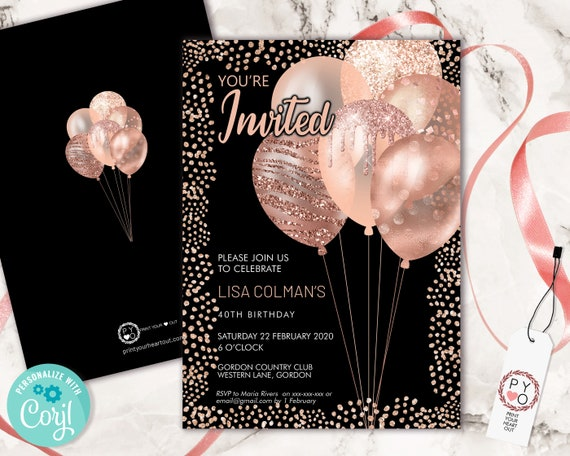 Rose Gold Birthday Balloons Invitation Printable Template, Black Gold Glitter Editable Birthday Party Invitation for Women, Printable Card