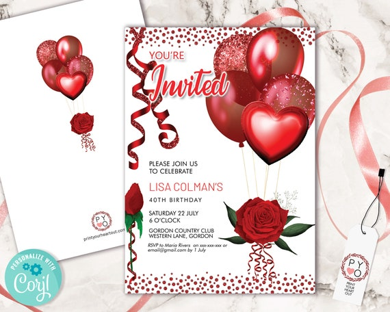 Red Rose Glitter Birthday Balloons Invitation Printable Template, Red Ribbons Editable Birthday Party Invitation, Confetti Printable Card