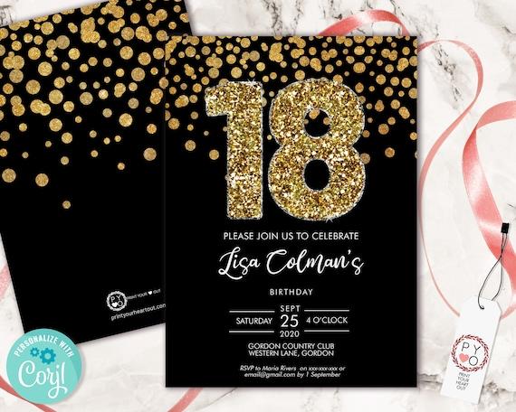 DIY 18th Birthday Confetti Invitation Printable Template, Black Gold Glitter Editable Birthday Party Invitation for Women, Printable