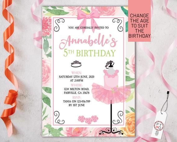 Pink Ballet Floral Birthday Invitation Printable Template, Editable Invitation, Any Age Birthday, Pink Tutu Party, Girls Age Birthday