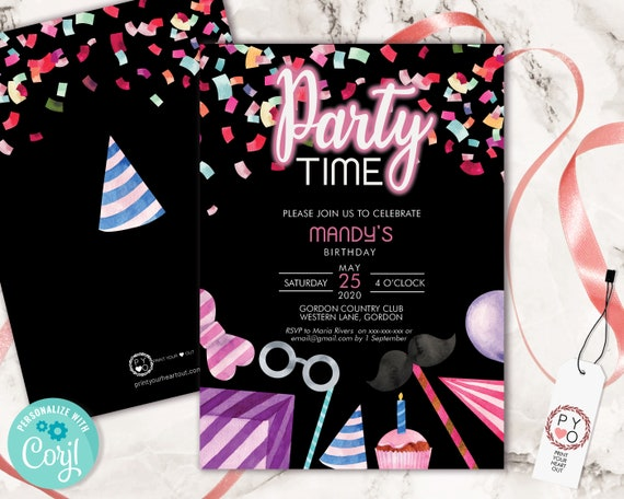 DIY Party Time Birthday Confetti Invitation Printable Template, Black Pink Editable Birthday Party Invitation for Any Age, Printable Invite