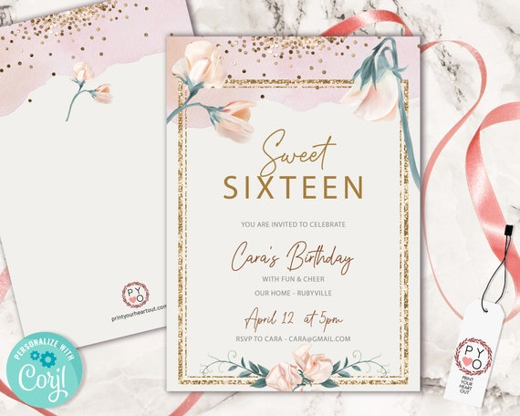 Sweet 16 Blush Pink Floral Party Invitation Printable Template, Editable Invitation, 16th Birthday, Gold Glitter Invite, 16 Editable Invite