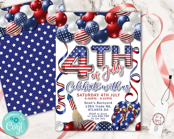 4th of July Celebrate Balloons Invitation Printable Template, Red White Blue Editable Grill BBQ Rocket Party Invite, Independence Day Picnic