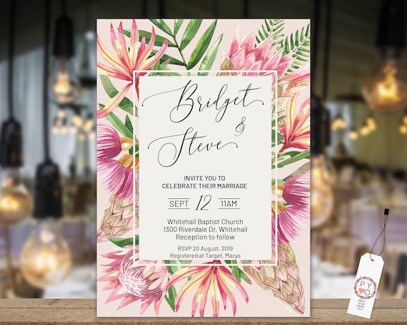 Tropical Floral Wedding Invitation Modern Leaf Invitation Etsy