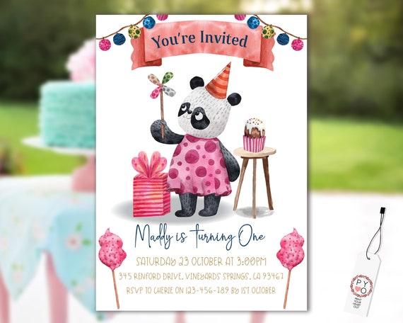1st Birthday Panda Invitation Printable Template, One Editable Invitation, Cupcake Banner First Birthday, Watercolor Kids Bear Invitation