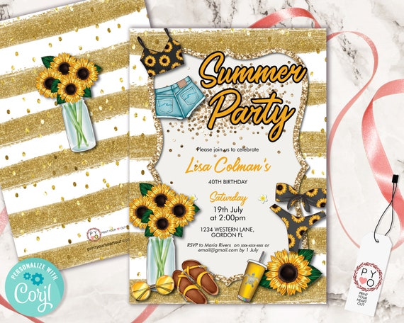Sunflower Summer Gold Party Birthday Invitation, Modern Lunch Brunch BBQ Invite, Printable Backyard Party, Glitter Floral Editable Template