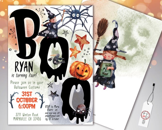 Halloween Boo Text Words Kids Invitation Printable Template, Pumpkin Party Invite, Printable Spooky Fright Night Invite, Halloween Birthday