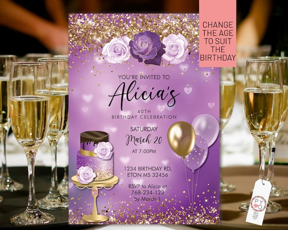 Any Age Birthday Lilac Purple Gold Glitter Cake Balloons Invitation Printable Template, Mauve Editable Floral Women,  Lavender Roses