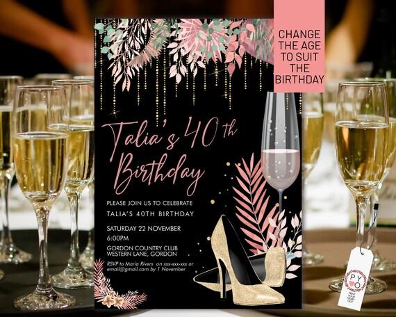 Boho Gold Stiletto Champagne Birthday Invitation Printable Template, Black Gold Glitter Editable Party Invitation for Women, Any Age Invite