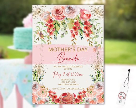 Mother's Day Brunch Lunch Gold Garden Invitation Printable Template, Gold Glitter Editable Dinner Invite for Mom, Printable Floral Card