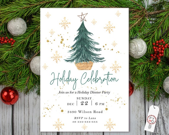 Holiday Celebration Tree Party Invitation, Gold Glitter Invitation, Sparkling Invite, Friends Family Party at Home, Boho Christmas, Scandi