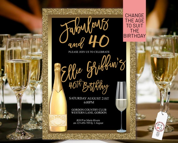 Any Age Gold Birthday Champagne Glass Invitation Printable Template, Glitter Foil Editable Birthday Dinner Invitation Women, Printable Card