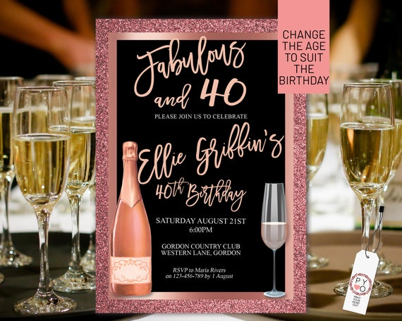 Any Age Rose Gold Birthday Champagne Invitation Printable Template, Glitter Foil Editable Birthday Dinner Invitation Women, Printable Card