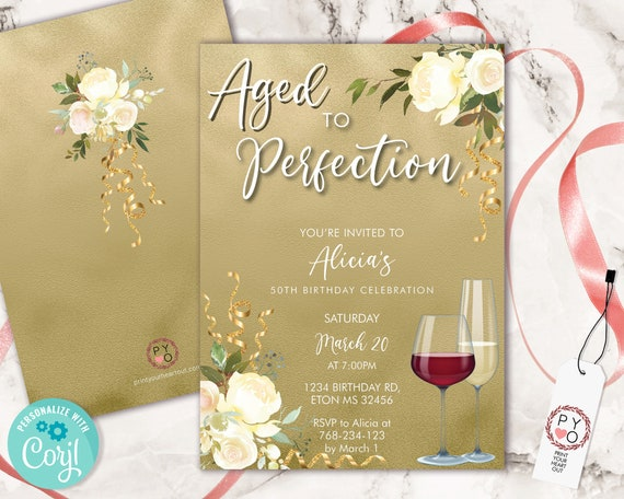 Wine Birthday Invitation Gold Ivory Template, Aged to Perfection Rose Editable Birthday Party Invite Women, Printable Champagne Glass Invite