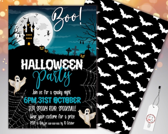 Halloween Haunted House Boo Invitation Printable Template, Blue Moon Ghosts Party Invite, Printable Fright Night Invite, Pumpkins, Scary