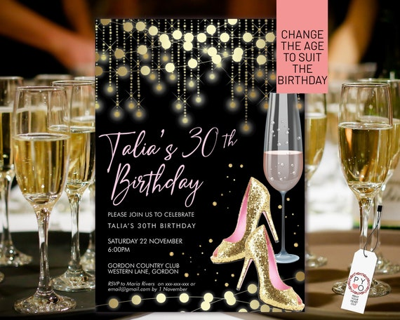 Pink Gold Stiletto Champagne Birthday Invitation Printable Template, Black Gold Glitter Editable Party Invitation for Women, Any Age Invite