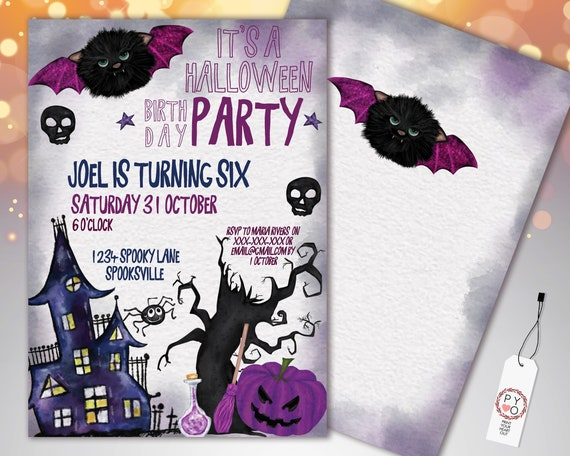 Halloween Bat Cat Birthday Party Invitation Printable Template, Kids Party Invite, Purple Fright Night Invite, Haunted House Pumpkin Invite