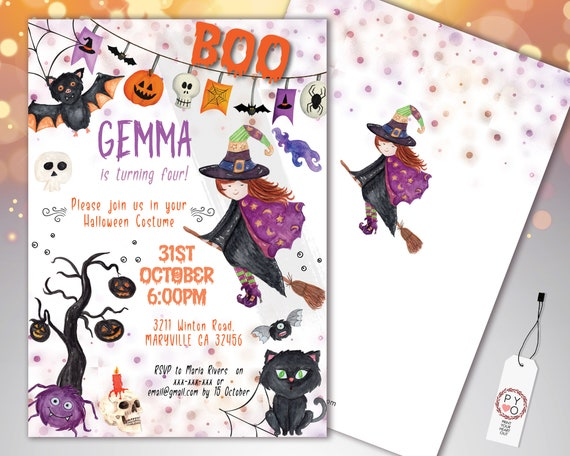 Halloween Boo Witch Kids Invitation Printable Template, Pumpkin Party Invite, Printable Spooky Fright Night Invite, Halloween Birthday