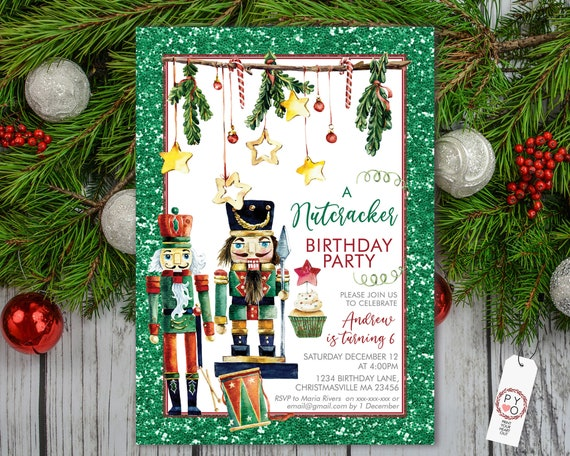 Green Red Nutcracker Birthday Christmas Party Invitation, Soldier King Invite, Kids Invite, Children Xmas Party, Boys Xmas Celebration
