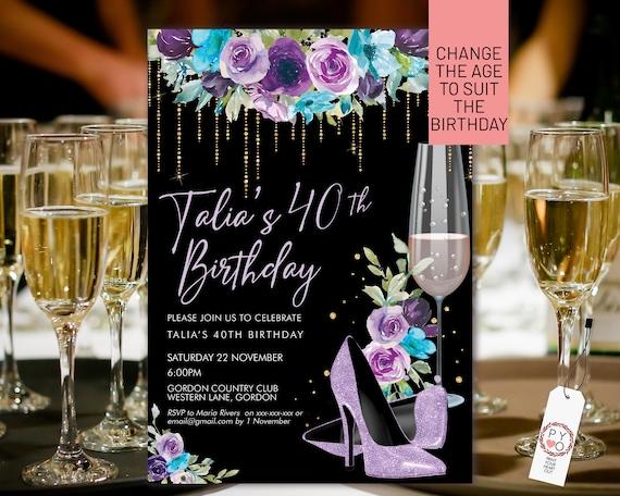 Lilac Glitter Stiletto Champagne Birthday Invitation Printable Template, Purple Floral Editable Party Invitation for Women, Any Age Invite