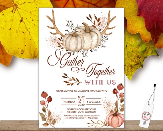 Thanksgiving Gather Together Invitation, Glitter Pumpkin Invite, Friends Family Party at Home, Turkey Dinner, Fall Autumn Pumpkin Leaves