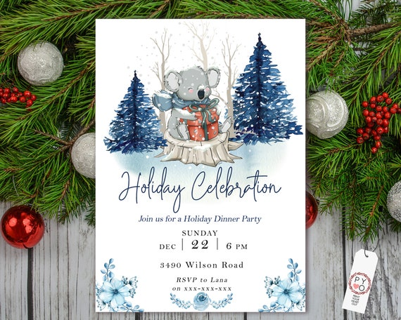 Koala Holiday Celebration Tree Party Invitation, Snow Invitation, Blue Winter Invite, Friends Family Party at Home, Christmas Tree Scene