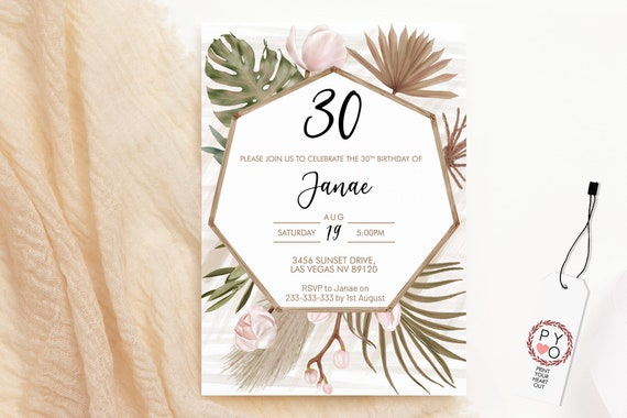 Boho Tropical Orchid Birthday Invitation, Modern Pamapas Palm Brunch Invitation, Printable Lunch Dinner Party, DriedLeaves Editable Template