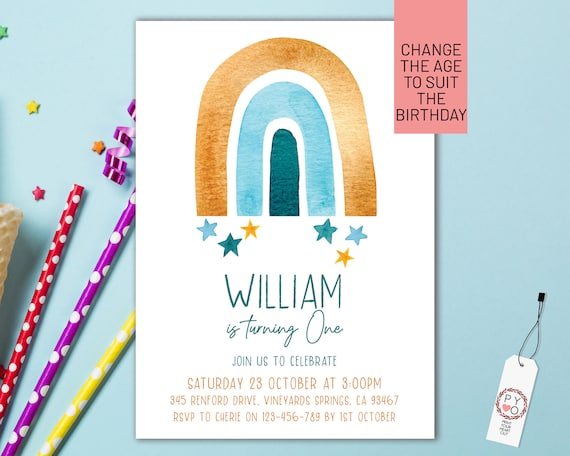 Blue Gold Rainbow Boys Birthday Party Invitation Printable Template, One Editable Invite, First Birthday, Watercolor Cute Invite, Any Age