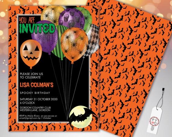 Halloween Bats Balloons Birthday Invitation Printable Template, Pumpkin Party Invite, Printable Spooky Fright Night Invite, Orange Invite
