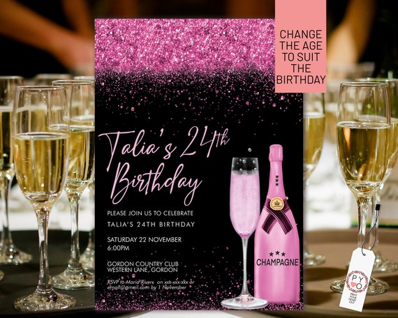 Magenta Pink Champagne Glitter Invitation Printable Template, Drinks Glitter Editable Birthday Party Invitation for Women, Printable Card