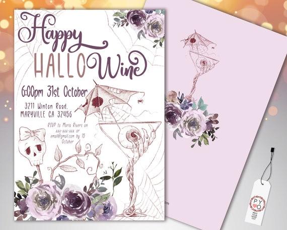 Halloween Wine Party Invitation Printable Template, Adult Hallowine Party Invite, Printable Spooky Fright Night Invite, Purple Rose Invite