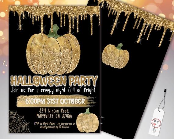 Halloween Gold Pumpkin Glitter Drip Invitation Printable Template, Glitter Pumpkin Party Invite, Printable Spooky Fright Night Invite